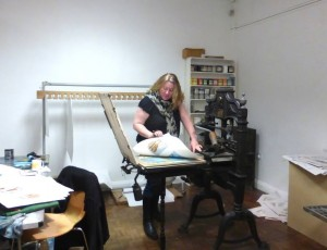Helen printing at the Smart Gallery